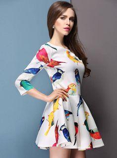 2014 spring New summer women dresses birds printed Floral casual dress desigual party dresses vestido de festa S XL freeshipping-in Apparel & Accessories on Aliexpress.com