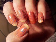"""Nailhilism: Pretty and Polished """"Summer Sorbet"""" and Star Kin """"Coral 1.0"""" - thermal glitter nail polish, with an accent nail of the incredibly holographic """"Coral"""""""