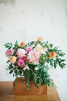 Dahlia floral centerpiece | Photo by Shalyn Nelson of Love | Read more - http://www.100layercake.com/blog/?p=76681