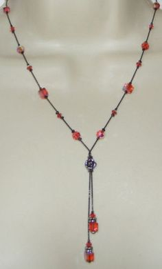 Dabby Reid Pink ab crystal bead & cube flower NECKLACE lariat costume jewelry