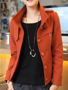 Chic Stylish Stand Neck Single Breasted Slim Pure Color Trench Coat Orange on buytrends.com