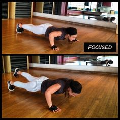 FOCUSED on Fitness. Mixing up push ups in this morns session.