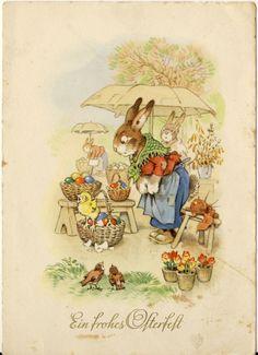 Ostern: Osterhäsin, Marktstand, Sonnenschirm, Motiv Fritz Baumgarten, RAR | eBay