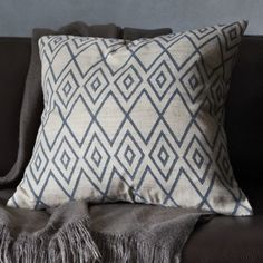 Hand-Blocked Ink Rhombus Pillow Cover - west elm