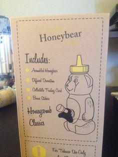 Close up of the back of the box on our Original Honeybear Smoking Set Honey Bear, Honeycomb, Smoking, Stickers, The Originals, Box, Classic, Artwork, Cards