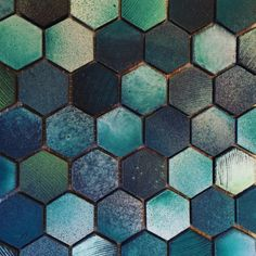 Basalt Mix Glazed Aqua Hexagon - TeraNova Tiles