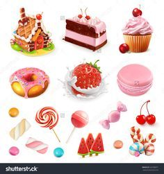 Confectionery And Desserts. Strawberry And Milk, Cake, Cupcake, Candy, Lollipop. Pink 3d Vector Icon Set - 520788871 : Shutterstock