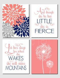 Girl Nursery, Kids Wall Art, Coral Navy Gray, Toddler Girl Room, Let Her Sleep, And though she be but little, Set of 4 Prints or Canvas by vtdesigns on Etsy