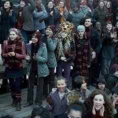 Quidditch match. Luna's headdress never gets less awesome.