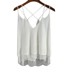 Womens Lace Insert Tops Chiffon Girls Sexy Cami Top Summer Style New Arrival Women Hollow Spaghetti Strap Camisole
