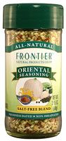 Frontier Natural Products Oriental Seasoning Salt-Free,  stir fry or several Asian-inspired meals  Other Ingredients: Sesame seed, bell peppers, garlic, onion, black pepper, celery flakes, lemon peel, mustard seed, and freeze-dried whole lemon powder