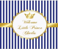 Royal gold blue prince crown baptism by Partypapersfactory