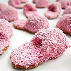 Pink Fuzzy Slipper Cookies    How cute for a girls overnight party or a spa night snack