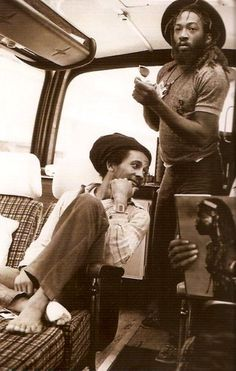 "Bob Marley with Road Manager Tony ""Gilly"" Gilbert (Exodus Tour in Europe, 1977)"