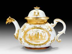 """TEAPOT WITH """"GOLDCHINESEN"""",  the painting by a workshop of Bartholomäus Seuter,   Meissen, circa 1725.    Sold for CHF 12 000"""