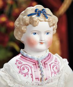 The Lifelong Collection of Berta Leon Hackney: 54 German Bisque Doll with Sculpted Hair and Fancy Bodice by Alt, Beck and Gottschalk