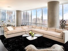 Penthouse New York living Houzz, Manhattan Real Estate, New York, Expensive Houses, Floor To Ceiling Windows, Pent House, New Builds, Modern Interior Design, Luxury Homes
