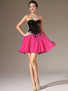 Two Tone Sweetheart A Line Cocktail Dress with Sequined Bodice - USD $124.00