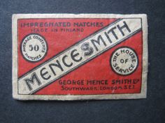 OLD FINLAND MENCE SMITH A/C 50.MATCHBOX LABEL.
