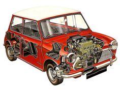 Morris Mini Cooper S - Illustrator unknown Red Mini Cooper, Mini Cooper Classic, Classic Mini, Classic Cars, Audi, Porsche, Cutaway, Vintage Cars, Antique Cars