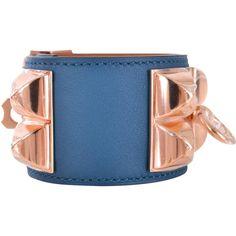 Hermes Collier De Chien Cuff Bracelet in Teal as seen on Jennifer Lopez