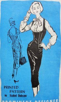 1950s Slim Jumper and Blouse Pattern Steaming Hot Isabel Dobson Prominent Designer 297 Wiggle Figure Show Off Shelf Bust Jumper Dress Bow Tie Blouse Bust 34 Vintage Sewing Pattern
