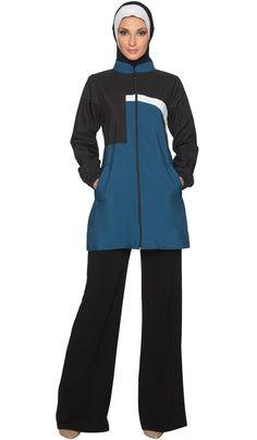 Womens Elian Black Blue Modest Long Sport Jacket   Islamic and Modest Clothing Artizara.com Modest Wear, Modest Outfits, Modest Clothing, Sporty Outfits, Nike Outfits, Catsuit, Fashion Pants, Hijab Fashion, Habits Musulmans