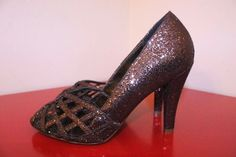 Aldo Shoes 38 7 Bronze Brown Glitter Shimmer Caged Front Peep Toe Holiday Pumps #Aldo #PeepToe #CocktailHolidayParty