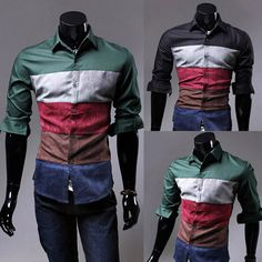 Multi Color Contrast Slim Fit Men Fashion Dress Shirt  . Shop Now At http://sneakoutfitters.com/collections/new-in/products/multi-color-contrast-slim-fit-men-fashion-dress-shirt
