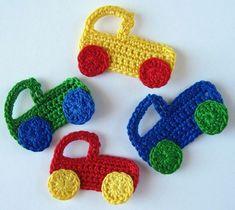 Crochet pattern car and truck applique youcanmakethis com Crochet Hot Pads, Crochet Car, Crochet For Boys, Crochet Gifts, Easy Crochet, Crochet Applique Patterns Free, Baby Applique, Crochet Motif, Crochet Flower Tutorial
