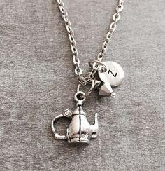 Teapot Necklace, Tea pot Necklace, Espresso maker necklace, coffee pot necklace, Coffee maker charm, Silver Necklace, Charm Necklace by SAjolie, $16.95 USD
