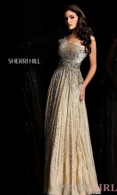 Prom Dresses, Celebrity Dresses, Sexy Evening Gowns at PromGirl: Long Embellished One Shoulder Gown