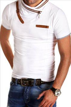 T-shirt met ritssluiting en bruin accenten. Geeft een luxe en trendy uitstraling.