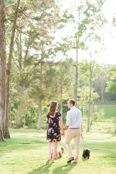 Summer Bull Run Winery Engagement with Puppies.