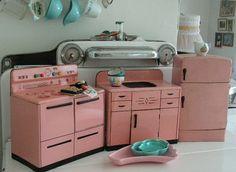 vintage toy kitchen - pink