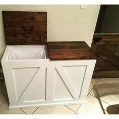 "No Trash Talk Here! Unless you're talking about a trash cabinet that actually makes me want to ""do the trash"". Awesome design, shared on Instagram by flis_woodworking, modified from plan http://www.ana-white.com/2011/04/wood-tilt-out-trash-or-recycling-cabinet"