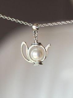 White Pearl Teapot Pendant, Teapot Pendant,Pearl Teapot Pendant,Teapot Necklace,Teapot Jewelry,Pearl Jewelry,Teapot,For Tea Lovers,Tea Party