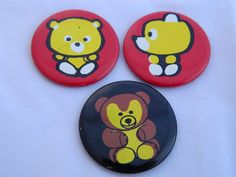 Set of three funny retro bear brooches/badges/ button by RETROisIN
