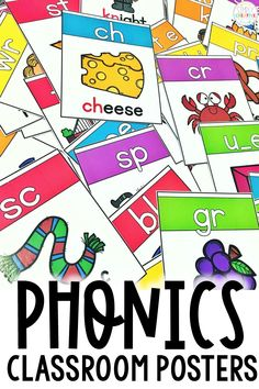These 100  phonics posters are perfect for kindergarten, 1st grade, and 2nd grade classrooms! Teachers love using these to display vowel digraphs, consonant blends, and other skills for phonemic awareness. These posters are great teaching tools for reading groups and they enhance word work learning activities. They are fun language posters that every student loves! #backtoschool