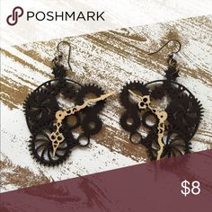 Steam punk gear drop earrings Steam punk vibe drop earrings. Made of carved wood. Super cool and unique in person! BUNDLE + SAVE! Buy two or more items and get 10% off your order! Jewelry Earrings