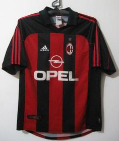 AC Milan football shirt 2000 - 2002 sponsored by Opel Milan Football, Classic Football Shirts, Football Kits, Ac Milan, Soccer Kits