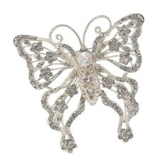 "Crystal embellished butterfly brooch with intricate detailing. - 3"" x 3"" - Silver plate with e-coat (non-tarnishing) - Imported"