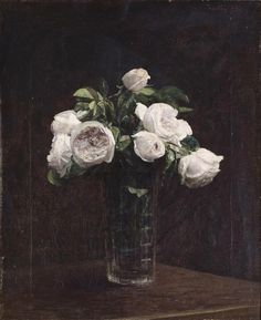 Blush Roses in Glass, Henri Fantin-Latour, circa Inspiration for Henri Fantin Latour, Art Floral, Rose In A Glass, Still Life Flowers, Paul Cezanne, Painting Still Life, Manet, Blush Roses, White Roses