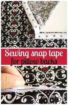 How to use your machine to sew snap tape and use it as the closure on a pillow back. Sewing snap tape is ideal to use on cushion and pillow covers. ~ So Sew Easy