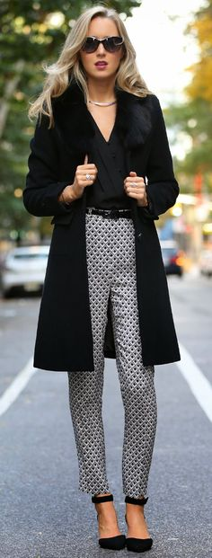 Faux Fur with Silk Orla Black and White Geometric...