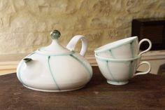 Stoneware Ceramic Tea set  Teapot and Two Cups by DankoHandmade