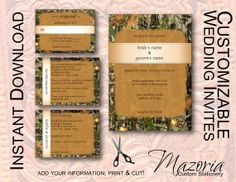 INSTANT DOWNLOAD Mossy Oak Inspired Camo Camouflage 5x7 Wedding ...