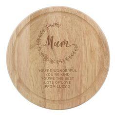 Personalised Round Wodden Chopping Board - Mum