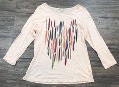 T. La Anthropologie Shirt Quarter Sleeve Feather Boho Womens Sz M* | eBay