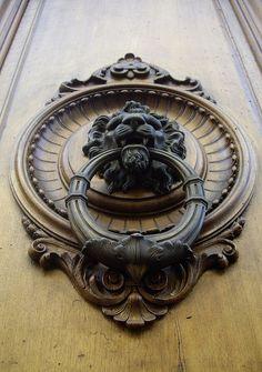 Lion Door Knocker, Door Knobs And Knockers, Door Knockers Unique, Gate Handles, Yellow Front Doors, Sliding Door Window Treatments, Shed Doors, Glass Front Door, Unique Doors